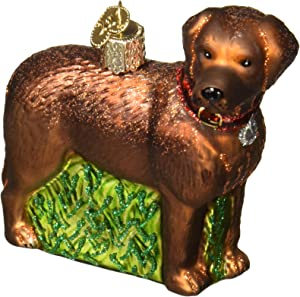 Old World Christmas Dog Collection Glass Blown Ornaments for Christmas Tree Standing Chocolate Lab