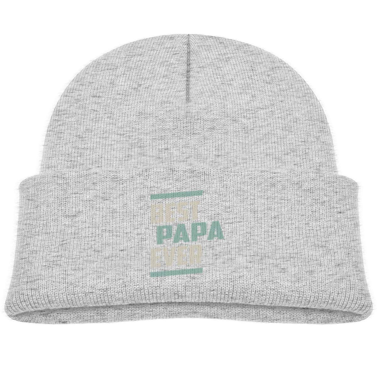 Best Papa Ever Skull Cap Baby Girls Gray