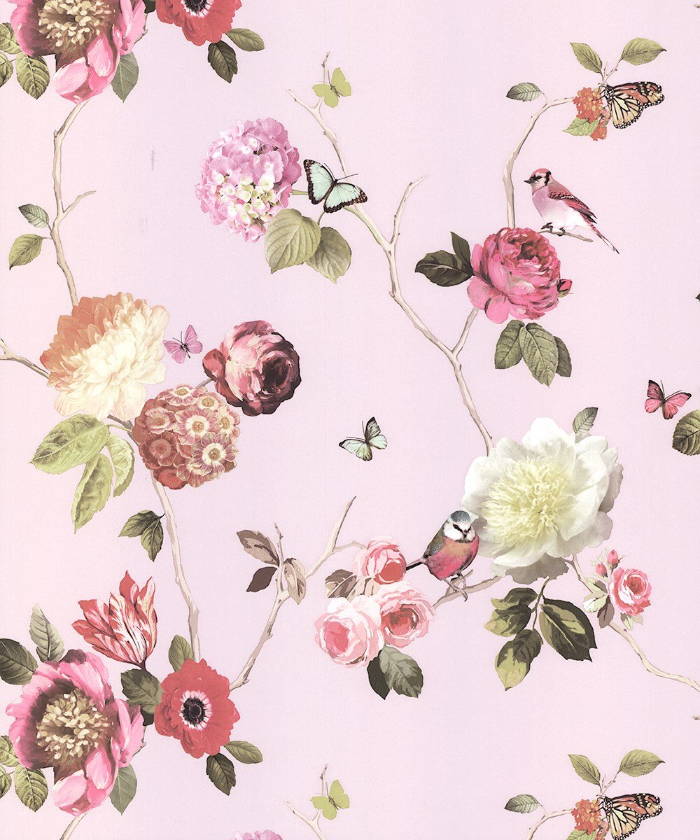 Arthouse Charmed Blush Wallpaper 889802 Butterfly Bird Floral