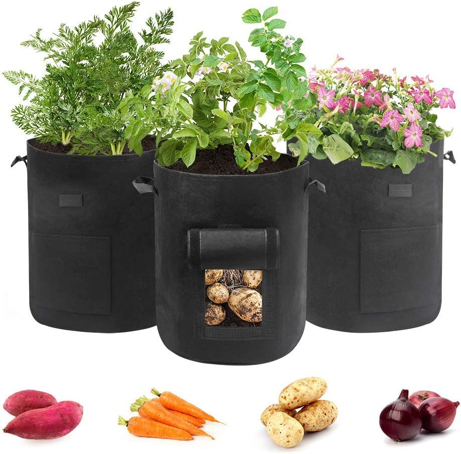 Hugro Tarfive 3 Pack 7 Gallon Grow Bags NonWoven Aeration Fabric Pots with Handles and Access Flap, Garden Vegetable Planting Bags for Potato Tomato and Fruits (7 Gallon)