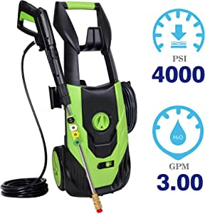 PowRyte Elite Power Washer 4000PSI 3.0GPM,Electric Pressure Washer with 5 Quick-Connect Spray Nozzles (0º, 15°,25º, 45° and soap) for Low to High Pressure to Wash Various Surfaces, Corded Washer