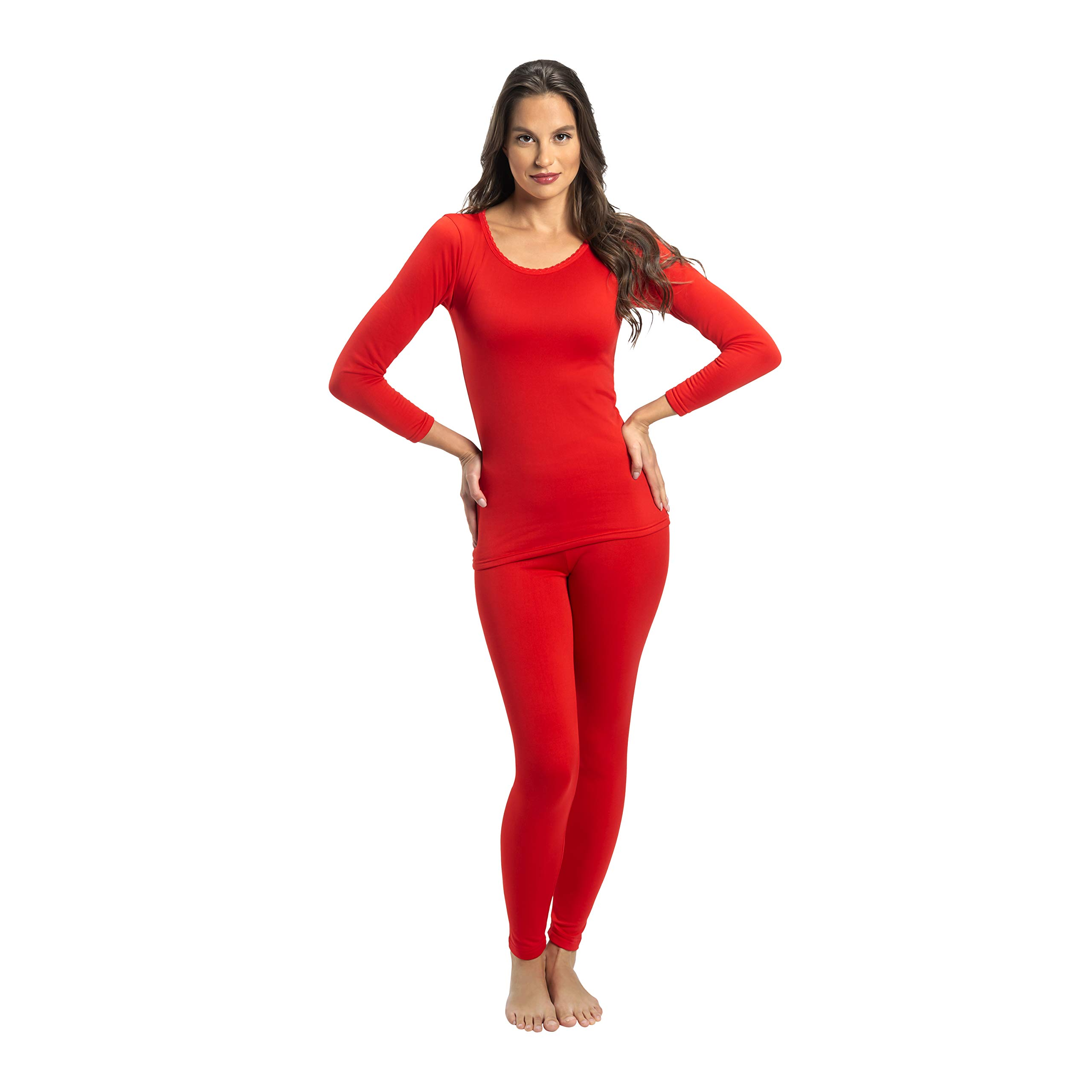 Rocky Women's 2 pc Ultra Soft Thermal Underwear, Top & Bottom Fleece Lined Long Johns (2Xlarge, Red) by Rocky