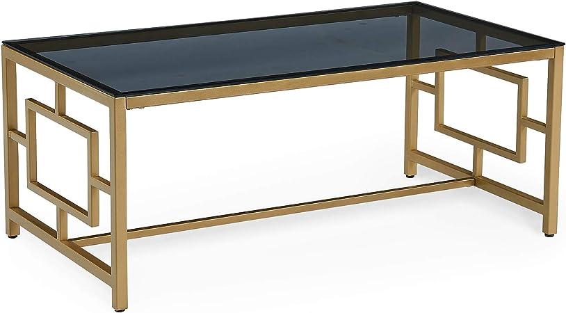 Decoinparis Table Basse Design En Verre Noir Et Metal Dore Rectangulaire Pablo