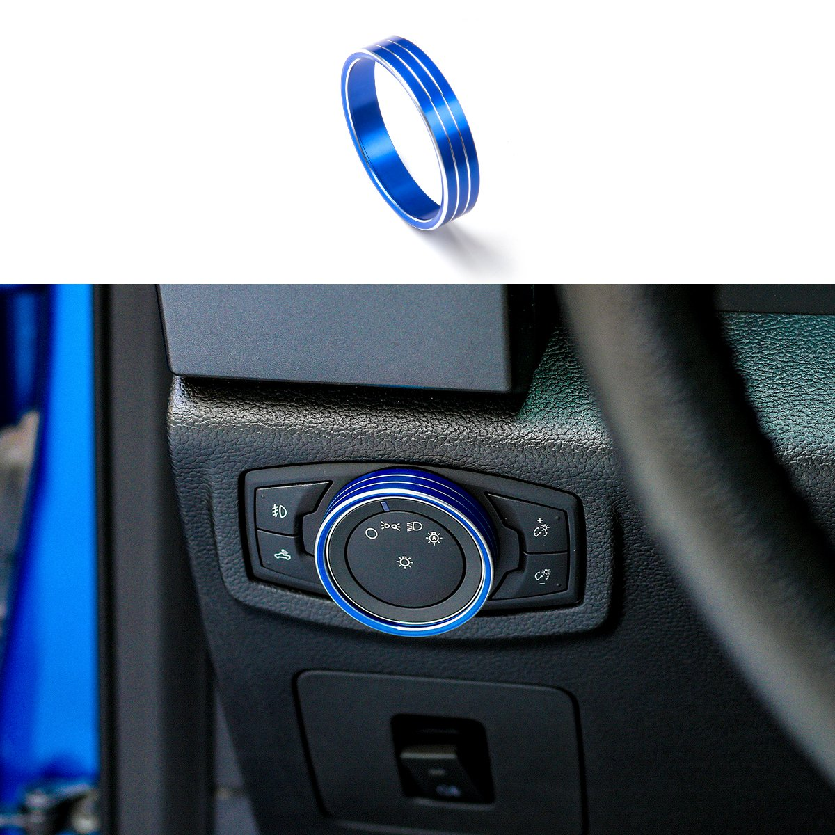 PARBO Aluminium Alloy Headlight Switch Knob Trim Front Headlamp Control Cover for 2015 2016 2017 Ford F150 & Mustang (Blue)
