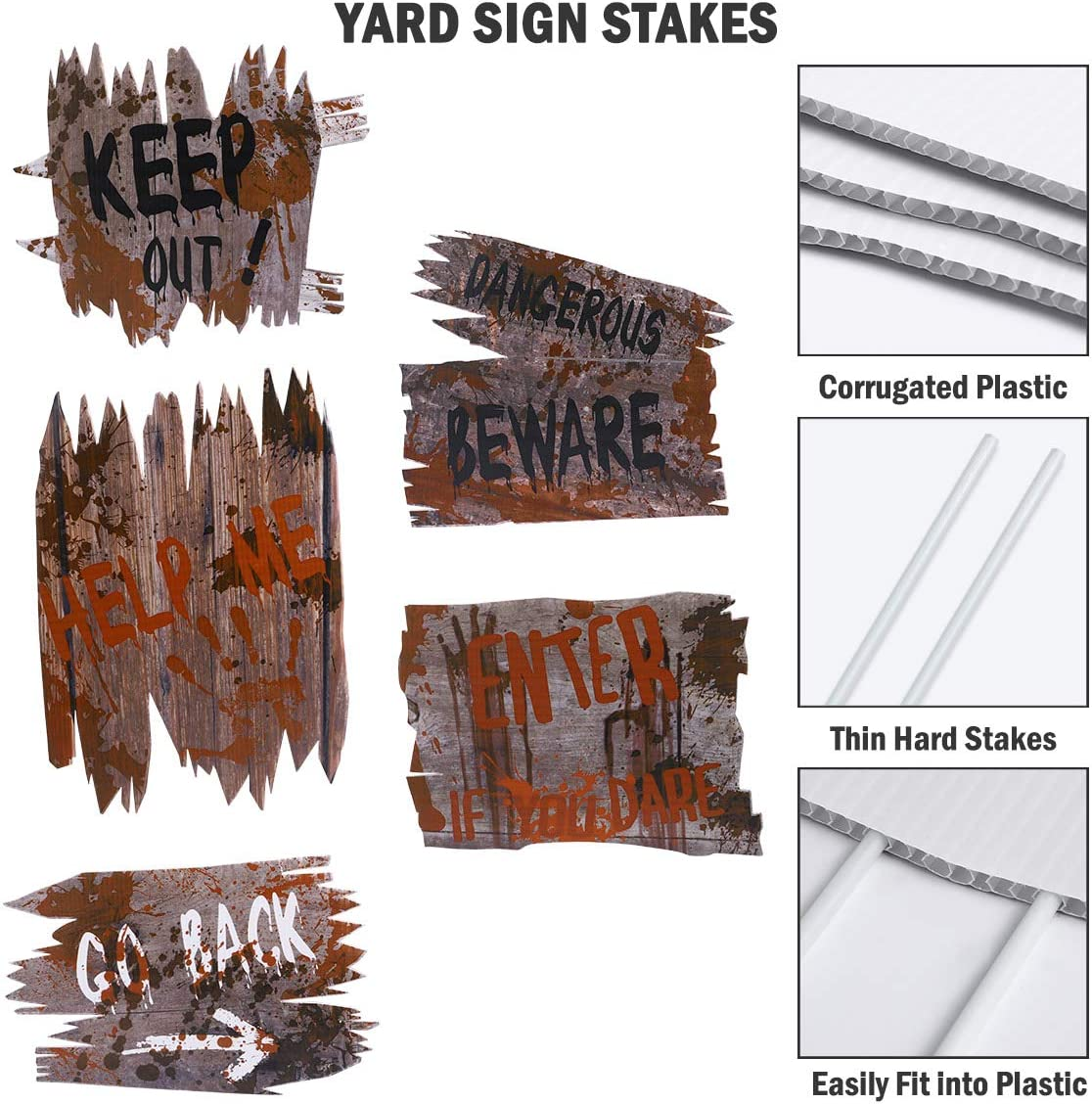 Halloween Decorations Outdoor Yard Sign for Halloween Yard Lawn Outside Decorations with Ground Stakes (5 Pack)