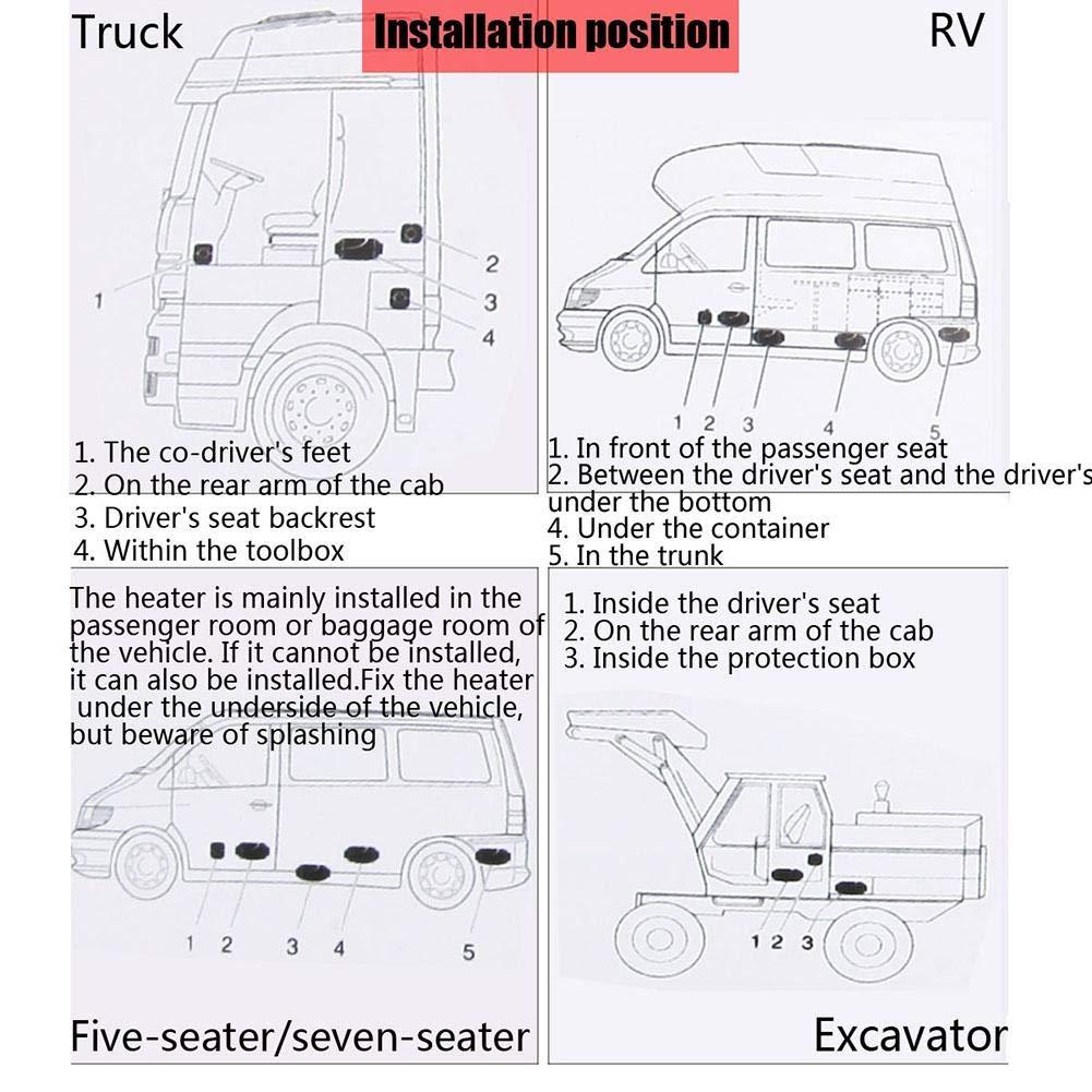 12v // 24v 5KW Fernbedienung kristall Thermostat schalld/ämpfer 10L Tank flower205 Air Diesels Heater f/ür SUV LKW pkw Marine Motor