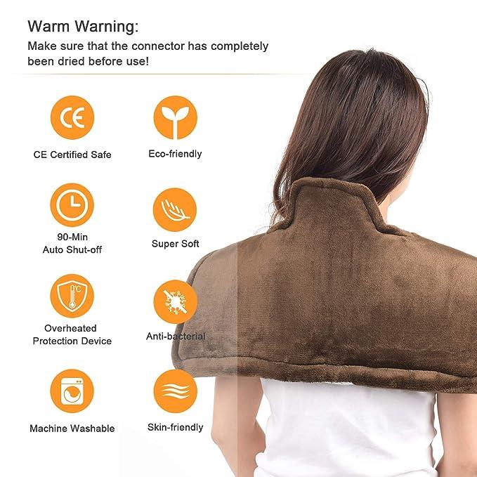Almohadilla Eléctrica para Cervical Hombro y Espalda - Calentamiento Rápido, Apagado Automático, 3 Niveles Temperatura, Aliviar el Dolor Muscular, ...