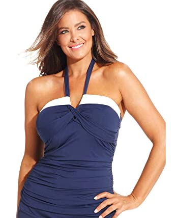 9be0f82f5fc Amazon.com  Anne Cole Womens Plus Size Halter Bandeau Tankini Top 24W Navy  White Swimsuit  Clothing