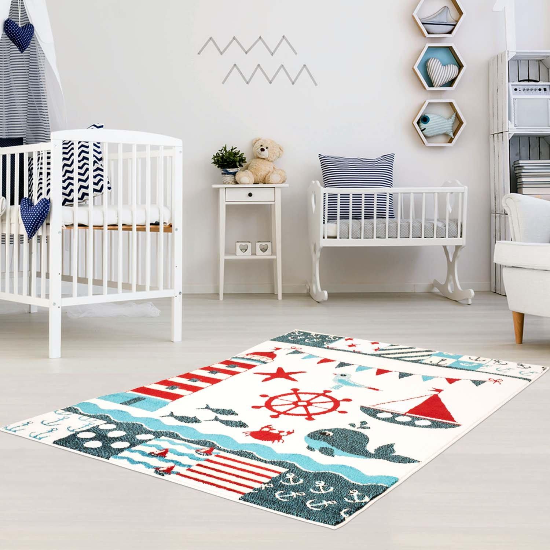 Carpet city Kinder Teppich für Das Kinderzimmer Öko Tex 100 5780 lustige Tiere im Wasser türkis 160x225 cm