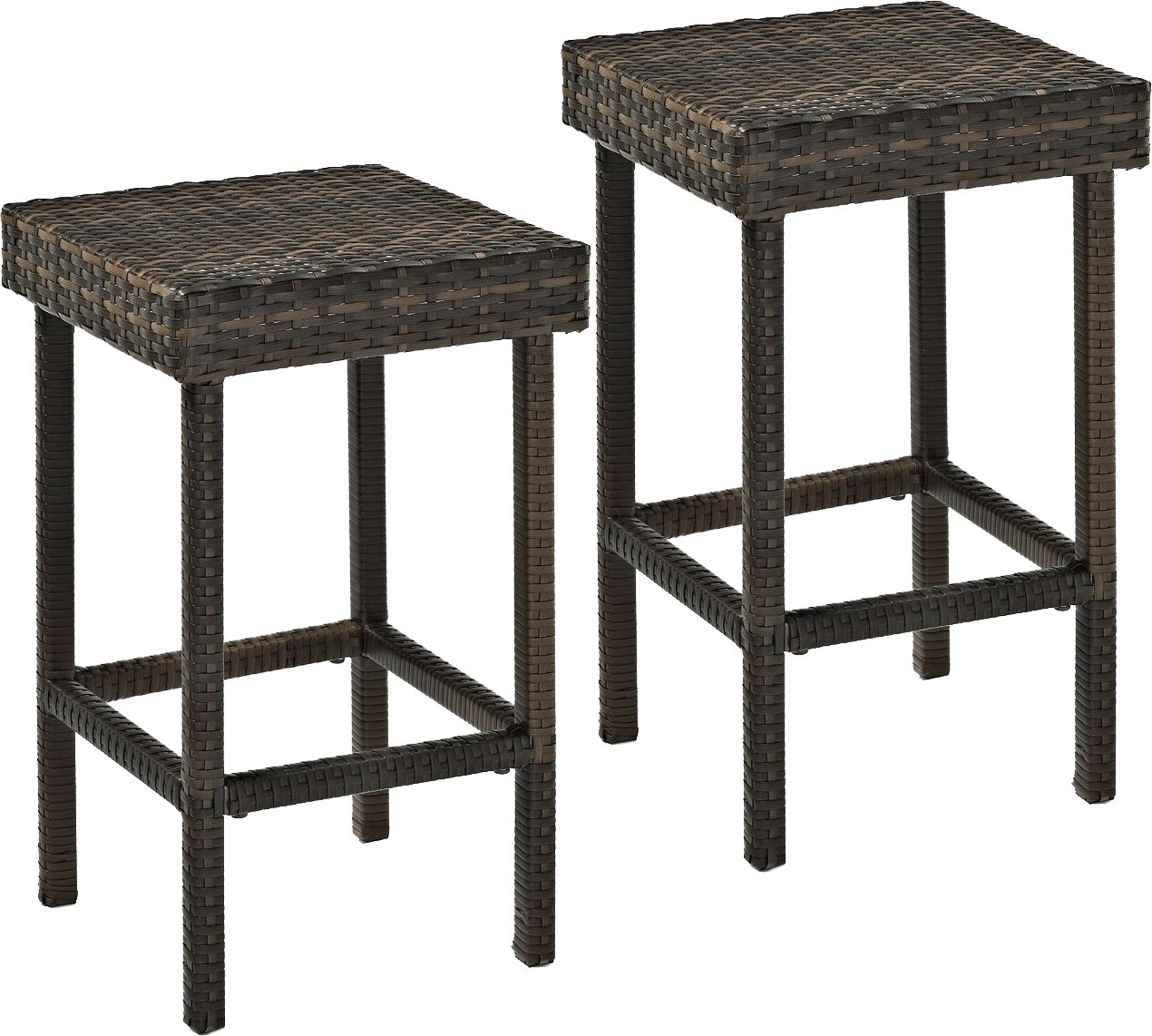 Crosley Furniture Palm Harbor Outdoor Wicker 24-inch Stools – Brown Set of 2