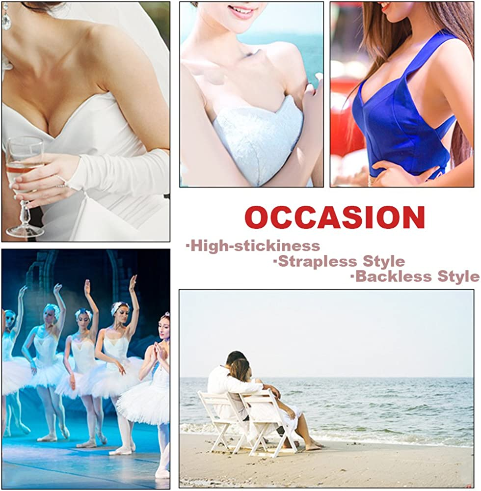 Muryobao Sticky Strapless Self Adhesive Backless Bras Silicone Push up Bra for Women 2 Pack FBA