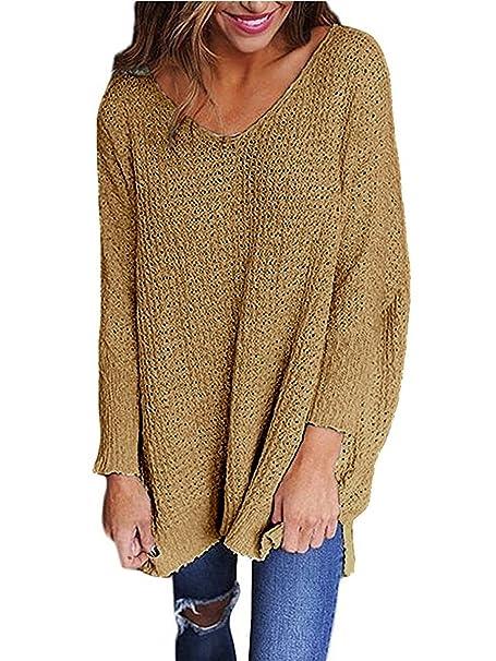 Kinikiss Mujer Jersey Suéter de Punto Cuello V Moda Otoño Pullover Sweater  Jumper  Amazon.es  Ropa y accesorios 96beeed056f7