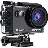 【4K高画質】MUSON(ムソン) アクションカメラ 4K WiFi搭載 1600万画素 SONYセンサー 30M防水 170度広角レンズ 1050mAhバッテリー 2インチ液晶画面 HDMI出力 バイク/自転車/カート/車に取り付け可能 防犯カメラ スポーツカメラ ウェアラブルカメラ Pro2 ブラック