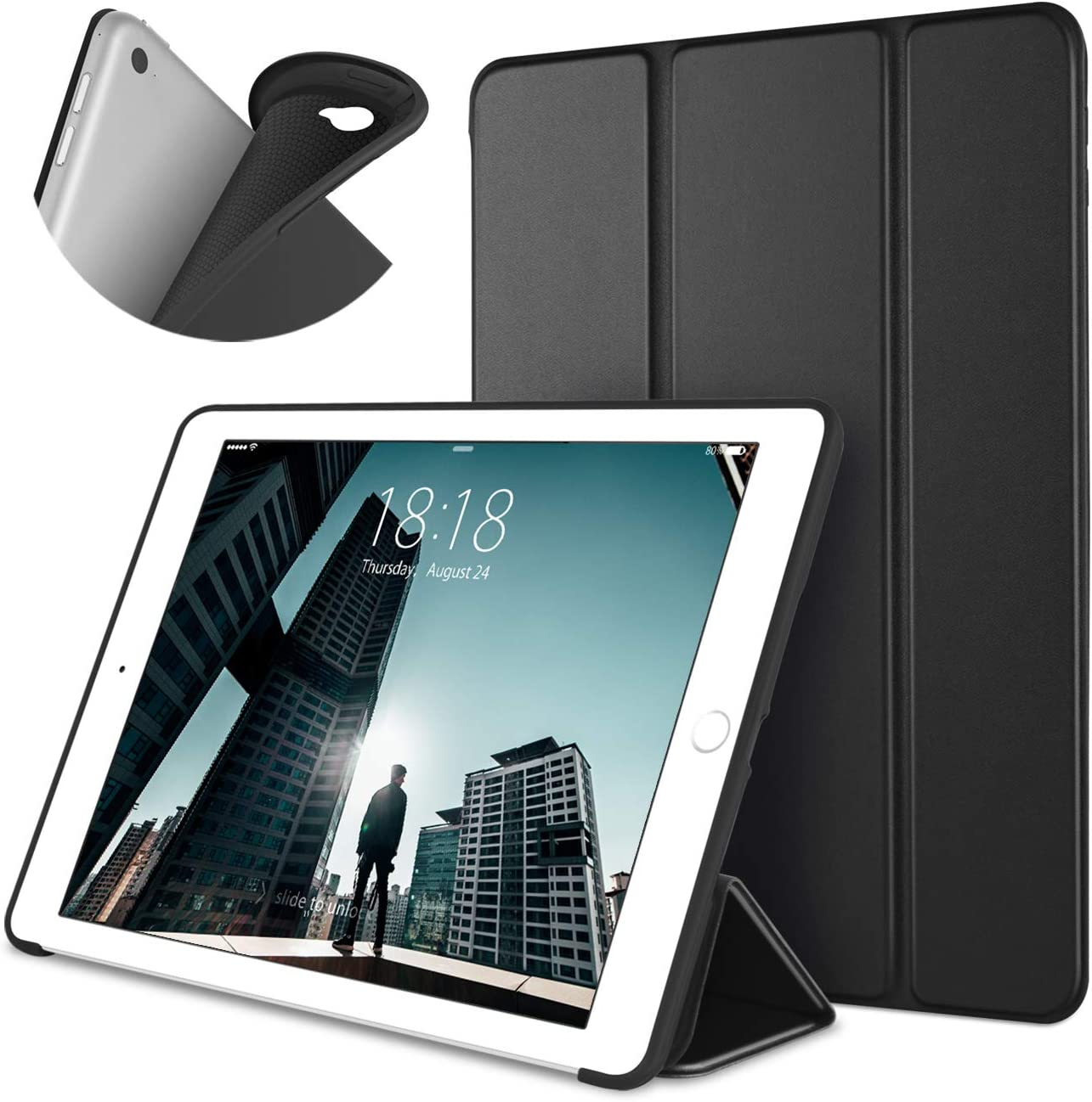 DTTO iPad Air 2 Case (2014 Released), Ultra Slim Lightweight Smart Case Trifold Stand with Flexible Soft TPU Back Cover for Apple iPad Air 2 (Model A1566/A1567), Black