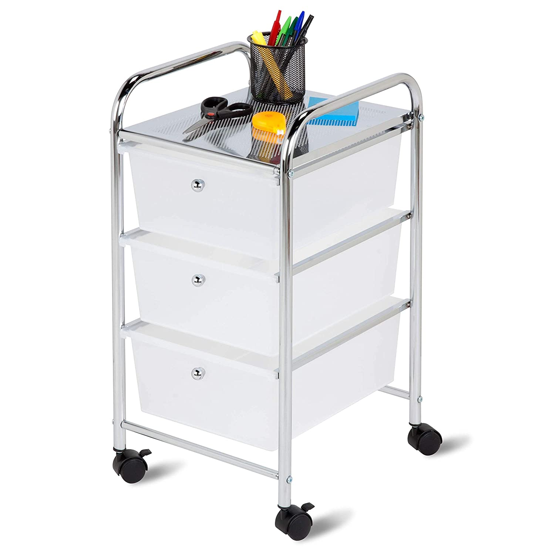 Amazon.com: Carro de almacenamiento de plástico con 3 ...