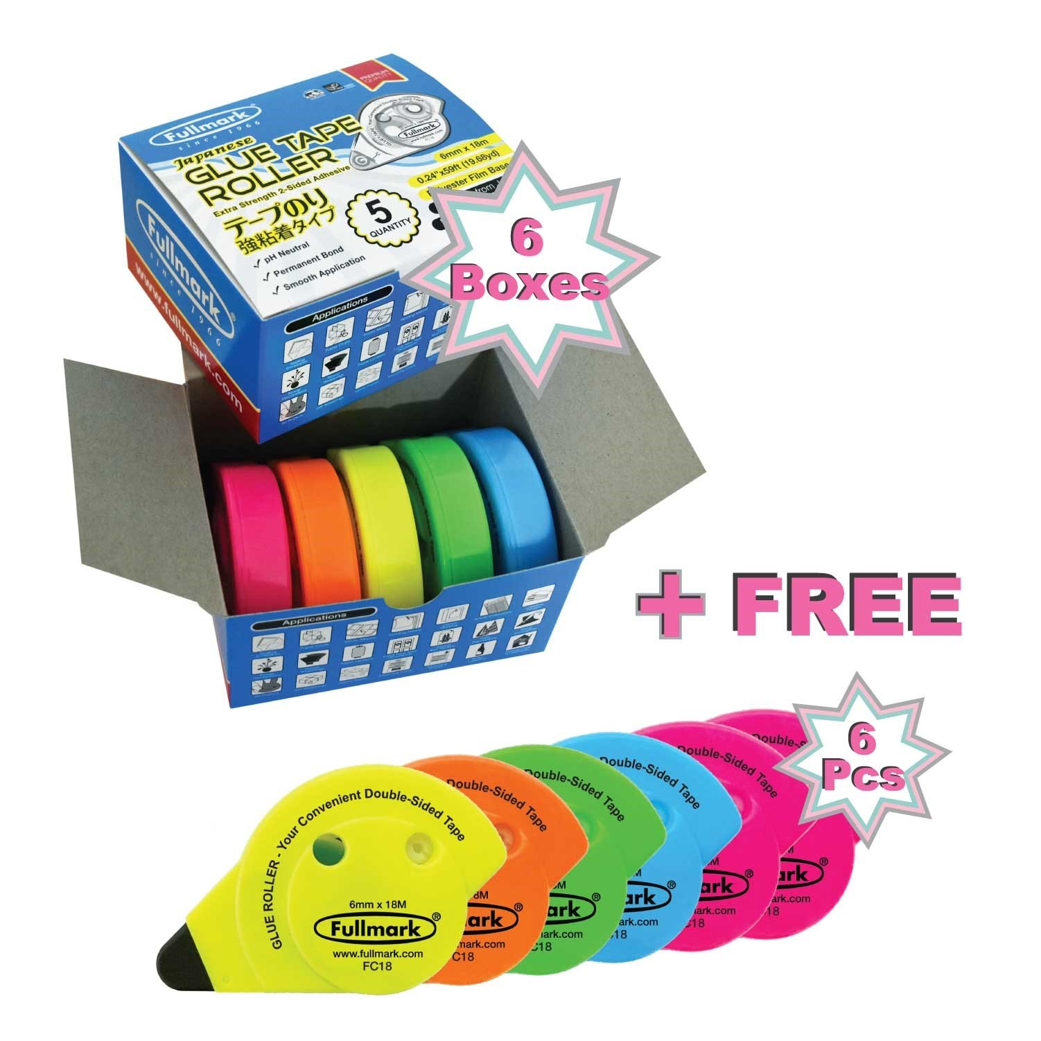 Fullmark 2018 Value Pack: Adhesive Roller Neon Assorted Colors, 30-Count + Free 6-Count Adhesive Rollers Assorted Colors Worth 41.94!
