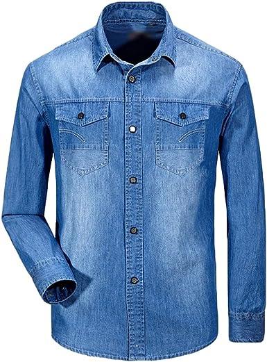 Baymate Hombre Camisa De Mezclilla Mangas Larga Tops Talla Grande