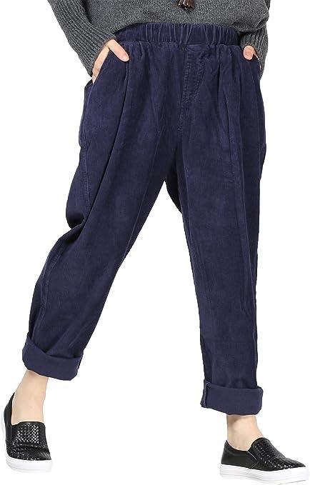 Vogstyle Donna Autunno//Inverno Casuale Cotone Pantaloni Con Tasche Cammello