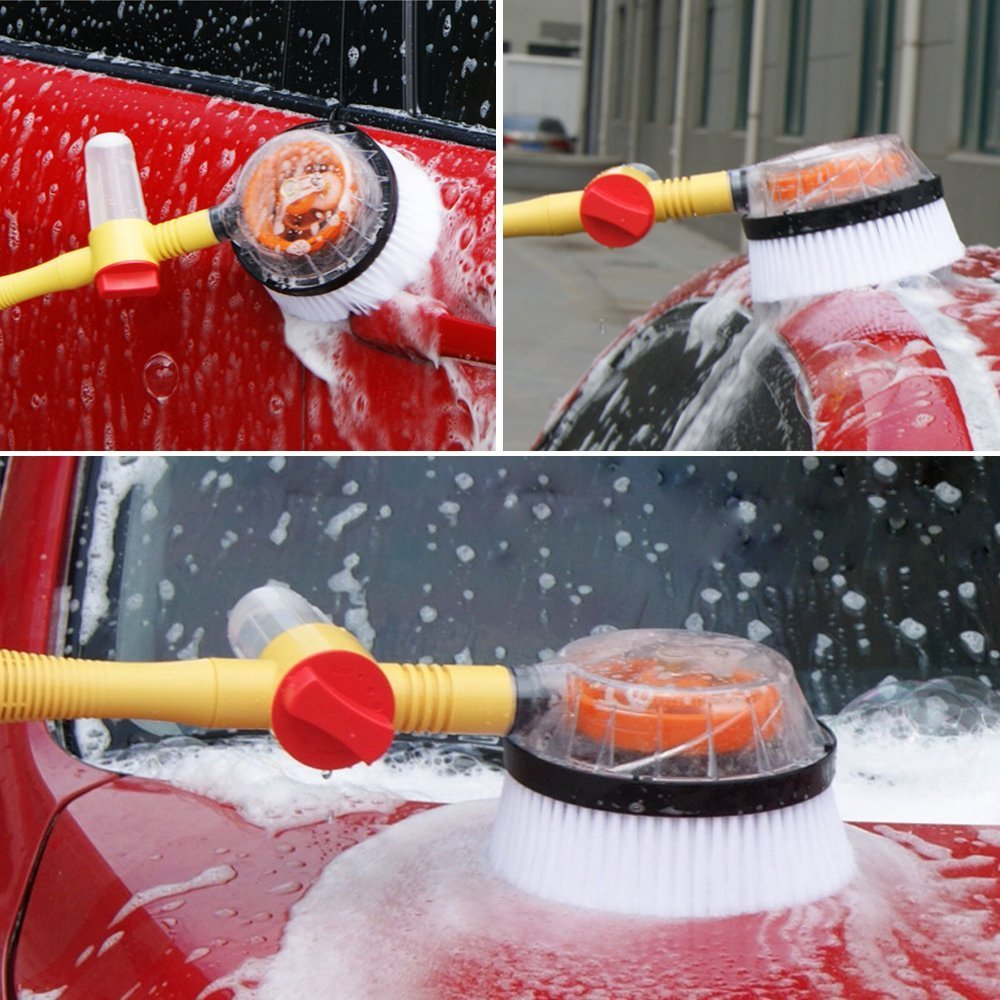 HSTYAIG Autowaschb/ürste 360 /° automatisch drehen Autowaschb/ürste langen Griff Einstellbare Autowaschmop Soft Car Washing Tool zum Waschen des Autos