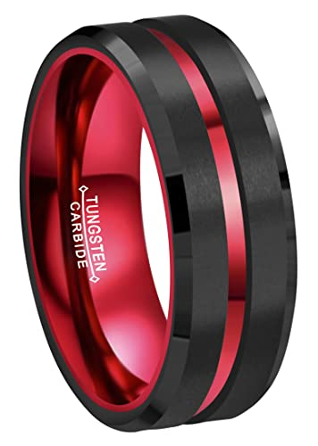 CROWNAL 8mm Red Black Tungsten Wedding Bands Rings Men Women Red Groove  Matte Finish Size 6 to 16  319348788318