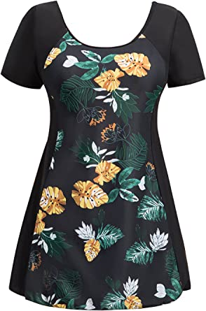 Ecupper Womens One Piece Swimdress Floral Skirted Shaping Body Bathing Suit