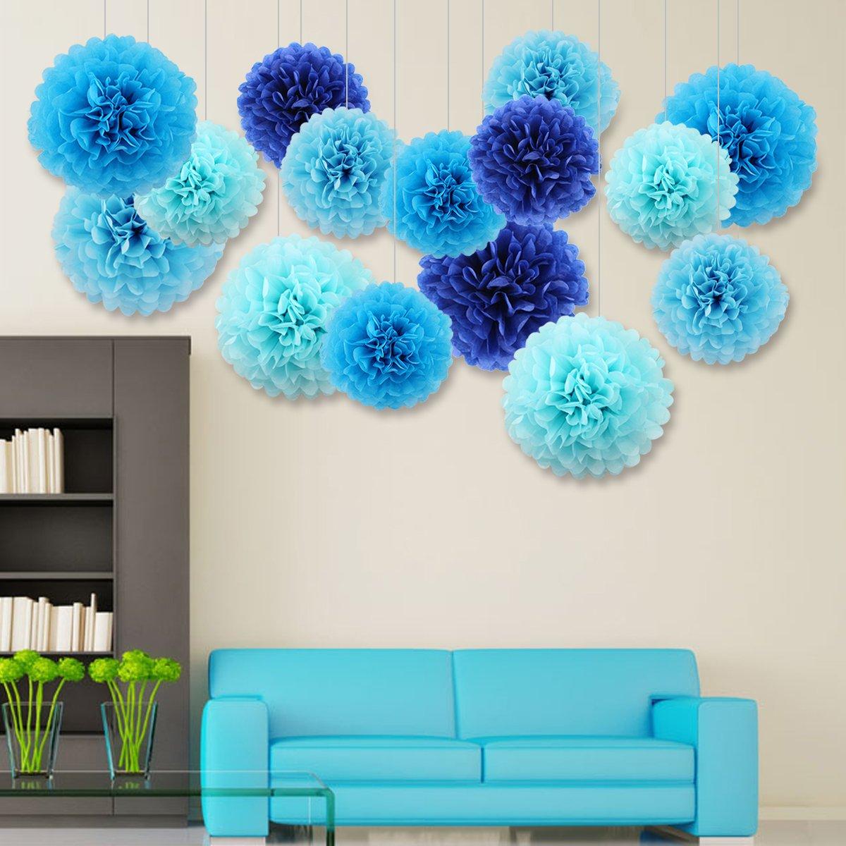 Achollo 5 pcs DIY Pompoms Paper Gray Colors Baby Shower Wedding 25cm, 35cm