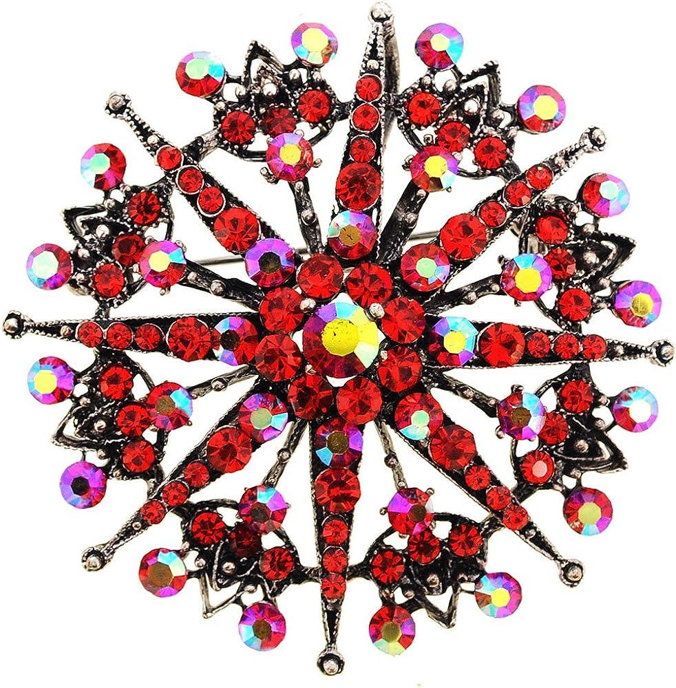 Fantasyard Red Flower Wedding Crystal Pin Brooch//Pendant