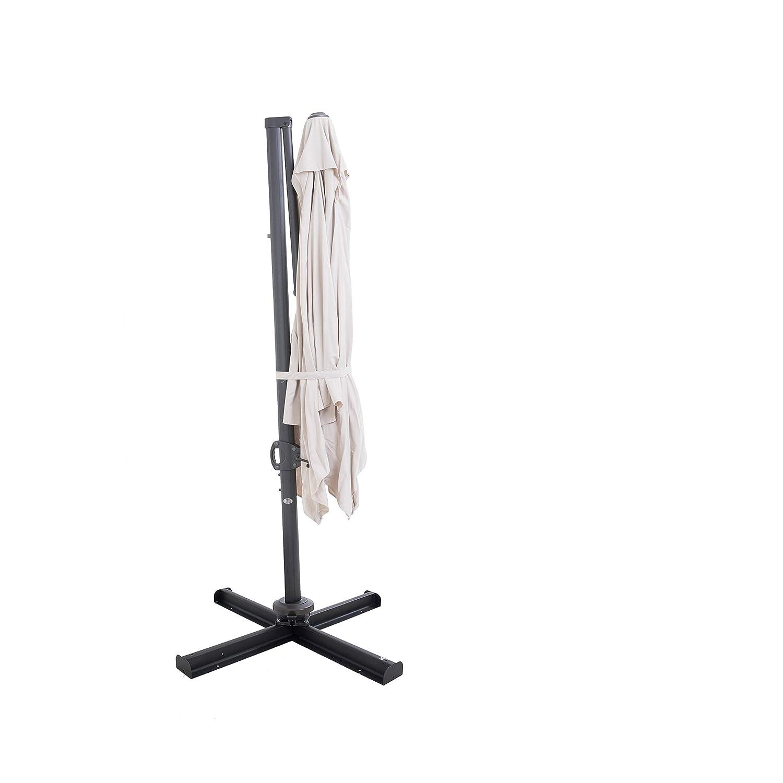 Abdeckung und Kreuzfu/ß Kurbel und 360 Drehvorrichtung Quadratisch SORARA Roma Ampelschirm Sonnenschirm Sand Inkl