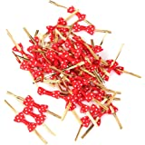 Approx.50pcs Rose Bowknot Gift Wrapping Metallic Twist Ties for Party Bakery Cookie Candy Bags Red