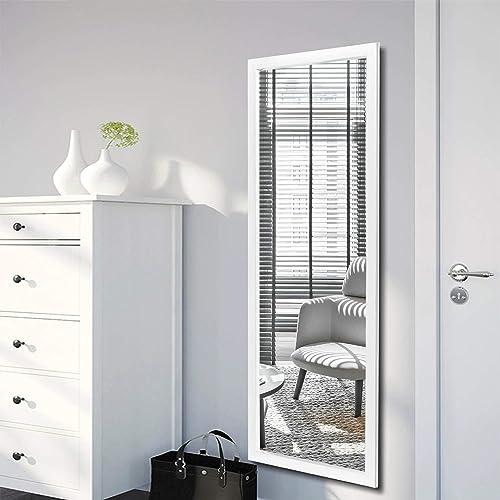 NeuType Door Mirror Wall Mirror Hanging Mirror Over The Door or On The Wall White, 44 x 16