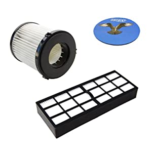 HQRP Filter Kit for Eureka Pet Expert 3276BVZ / Clean Living 3281AZ 3281BZ Upright Vacuum Cleaner, HF-7 DCF-21 Replacement Coaster