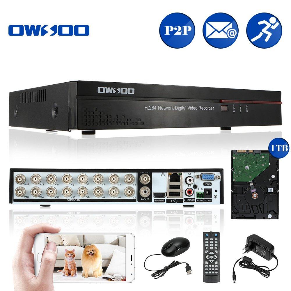 OWSOO 16CH Canal Complet CIF H.264 HDMI P2P Nuage Ré seau DVR enregistreur Vidé o numé rique + 1 TB Disque Support Audio Enregistrement Té lé phone Contrô le Motion Detection Email Alarme PTZ