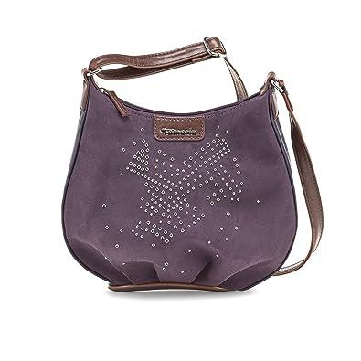 TAMARIS ELLE Handtasche, Umhängetasche, Metall Applikationen, 5 Farben: schwarz, pepper mocca braun, graphite grau schwarz, plum lila oder bottle grün