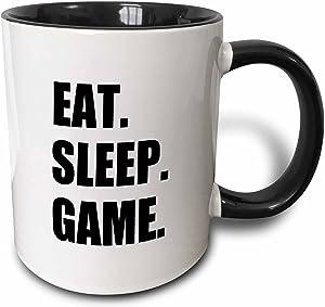 3dRose Eat Sleep Game-Fun Gifts Black Text-Video Pro-Gamer Two Tone Mug, 11 oz