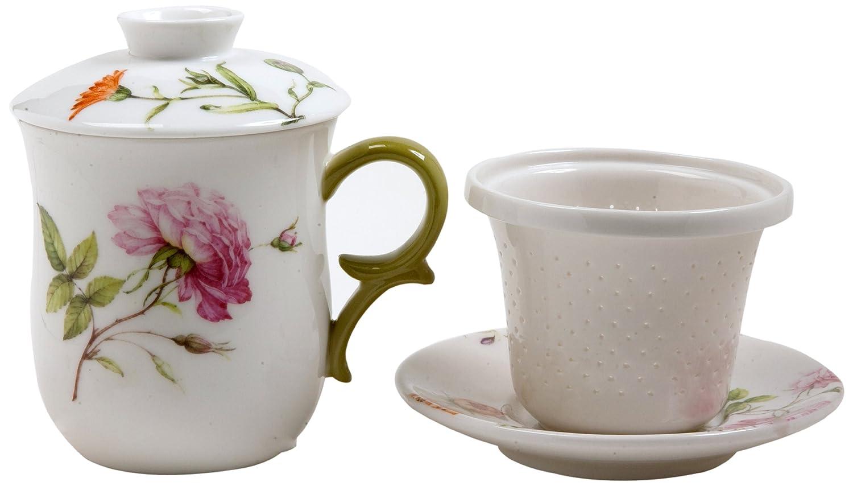 Gracie China by Coastline Imports 4-Piece Tea for Me Set, Dahlia Green FD560-10