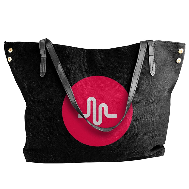 Musical Ly Logo Canvas Bag For Women Black