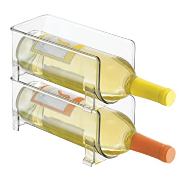 mDesign Stackable Wine Bottle Storage Rack for Kitchen Countertops, Cabinet - Holds 2 Bottles, Clear