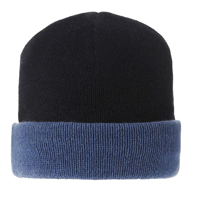 625dc1e794a LES POULETTES Womens 100% Cashmere Hat 6 Plys Bicolor Colors - Blue Navy