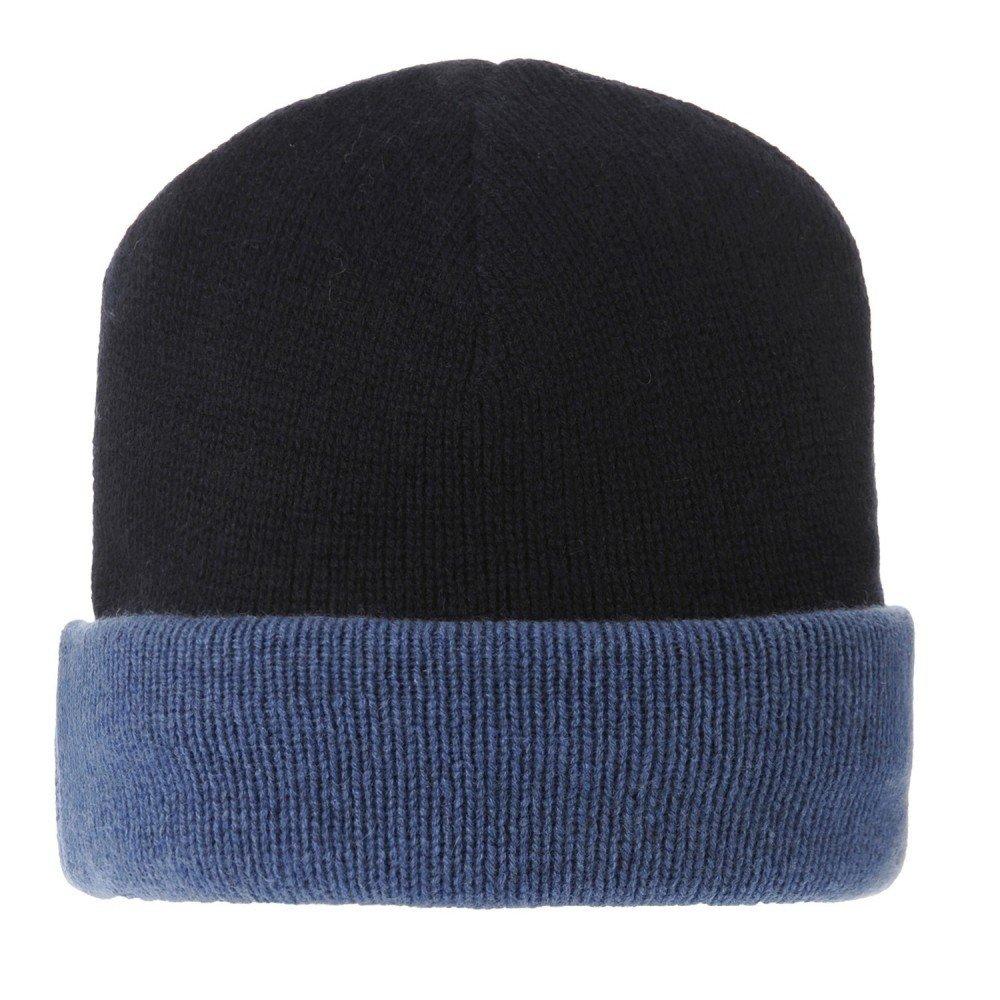 Womens 100% Cashmere Hat 6 Plys Bicolor Colors - Blue Navy