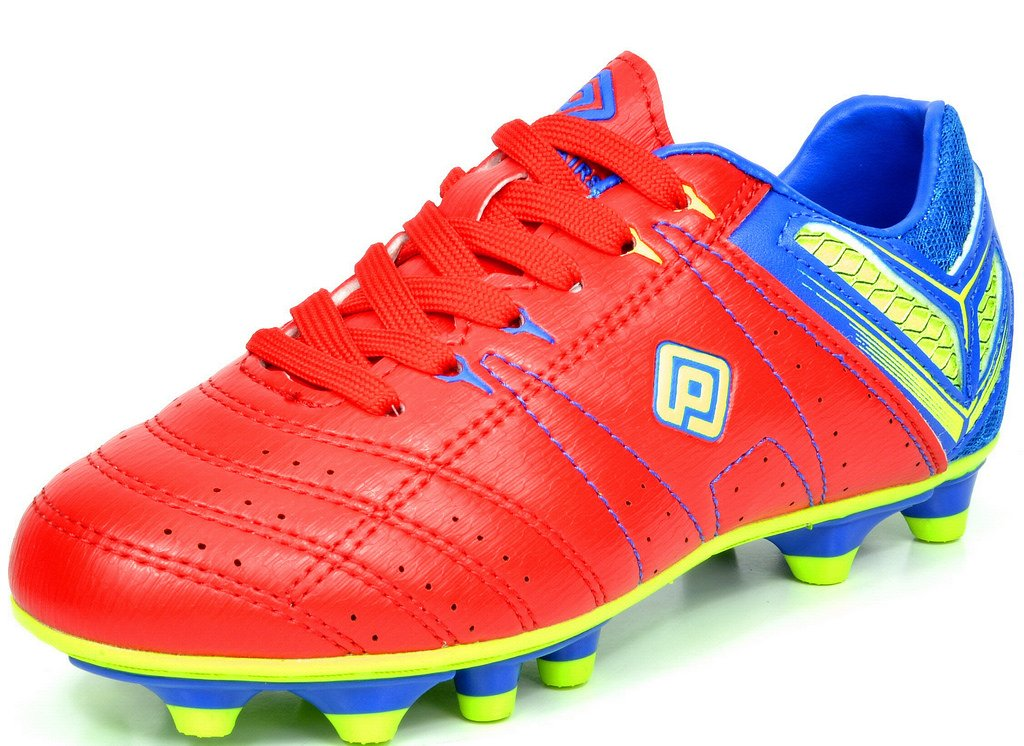 DREAM PAIRS 160471-K Kid's Fashion Soccer Shoes Outdoor Light Weight Lace Up Football Sport Cleats Sneakers (Toddler/Little Kid/Big Kid) RED-Royal-L.GRN Size 11