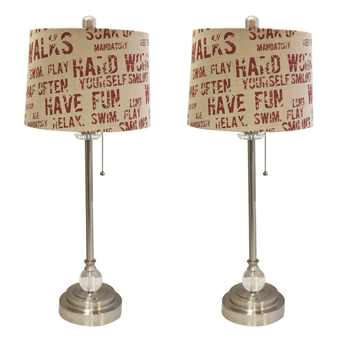 Royal Designs 28'' Crystal and Brushed Nickel Lamp with Cream and Red Relaxing Phrase Print Drum Hardback Lamp Shade, Set of 2 by Royal Designs, Inc