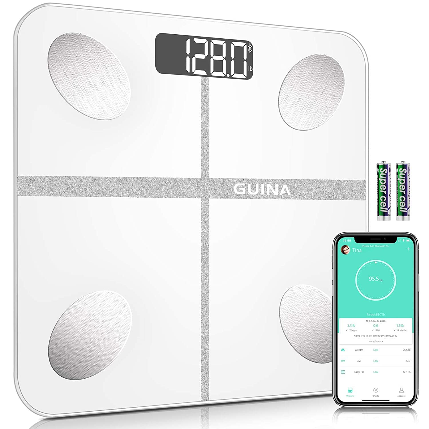 Body Fat Scale Bluetooth Digital, Bathroom Scale with BMI, Weight Scale with Body Fat Scale with 4 Hight Precision Sensors,Shatter-Resistant Tempered Glass and APP (White)