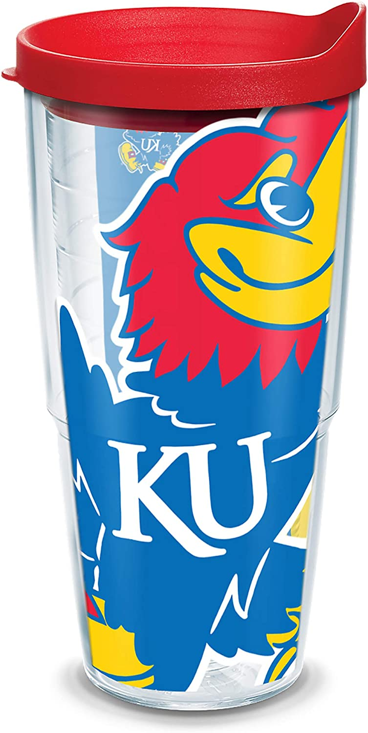 Tervis Kansas Jayhawks Mascot Colossal Tumbler with Wrap and Red Lid 24oz, Clear