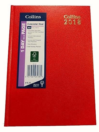 Agenda Collins A5 Desk 2018 avec une page par jour Red ...