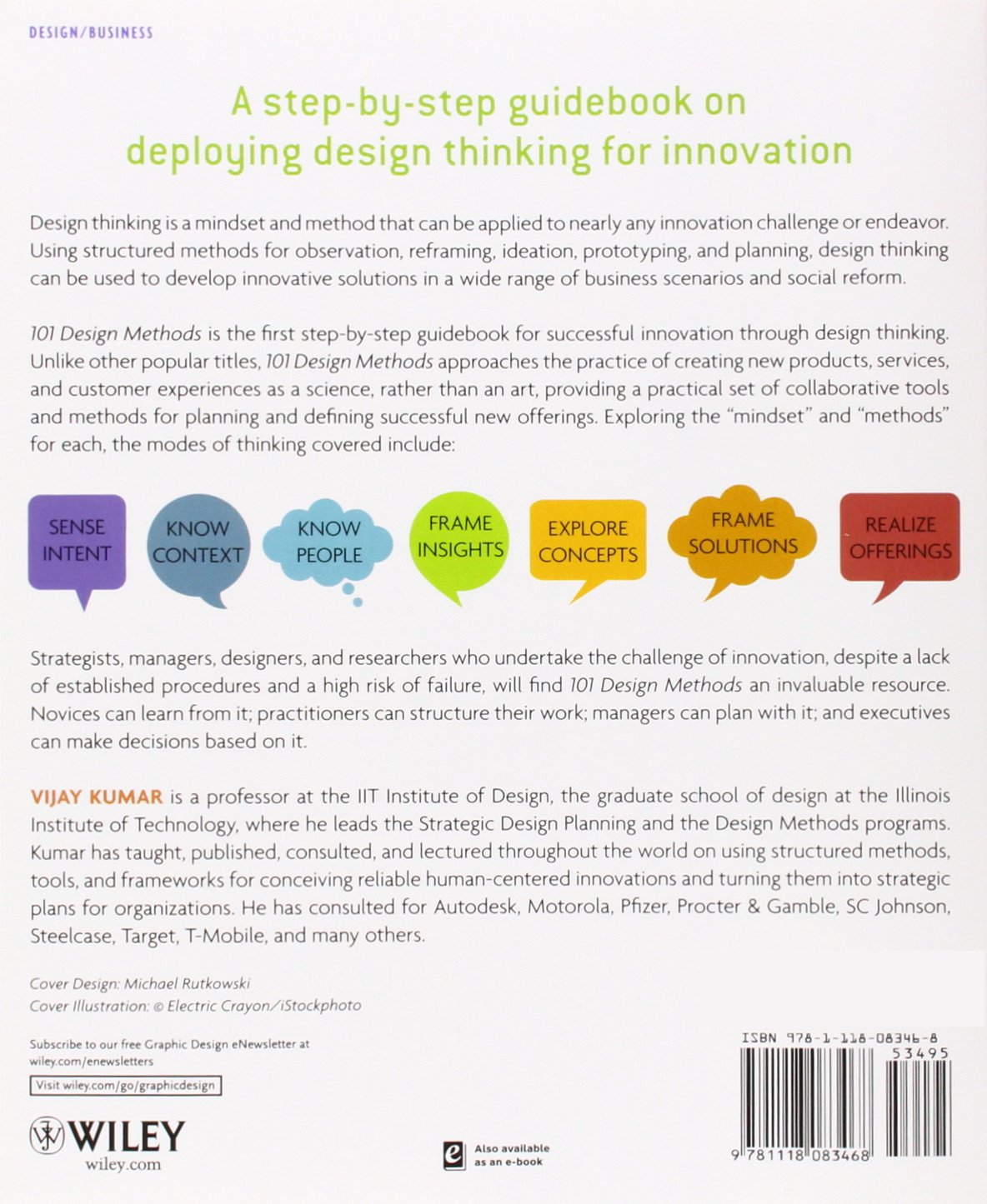 101 Design Methods: A Structured Approach for Driving Innovation in Your  Organization: Vijay Kumar: 9781118083468: Amazon.com: Books