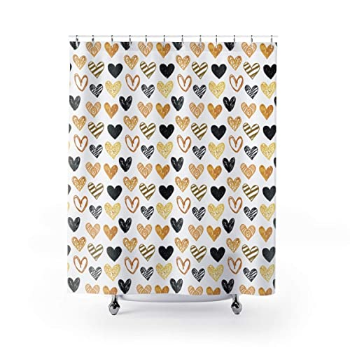 Black And Gold Shower Curtain Hand Drawn Hearts Glitter Glam Bathroom Designer Handmade
