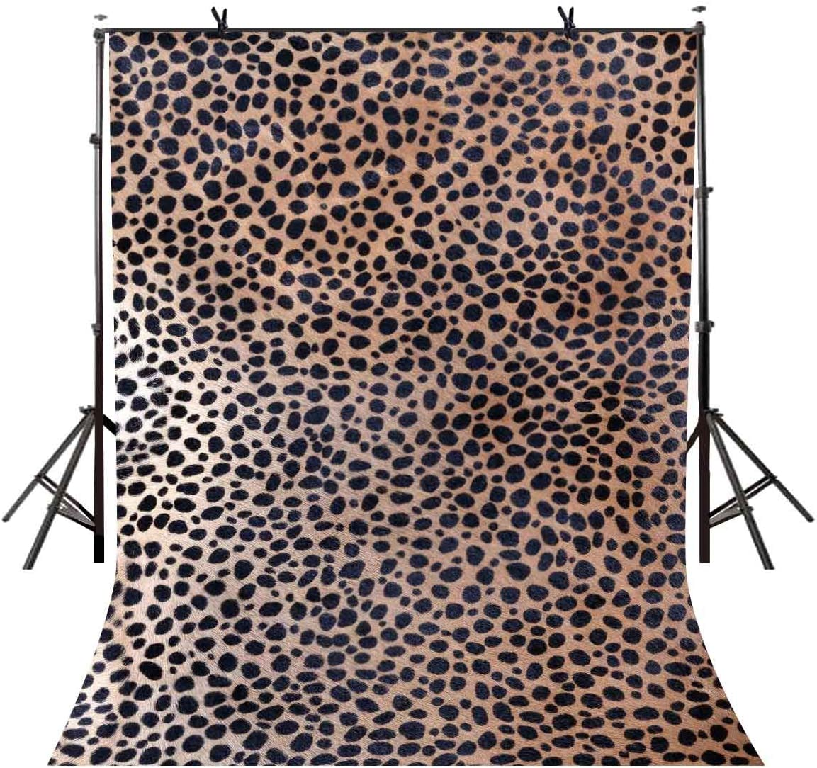 LYLYCTY 5x7ft Leopard Backdrop Bottom of The Yellow Brown Black Spots Photography Backdrop Polyester Photo Photography Background Interior Decoration Wallpaper LYGE890