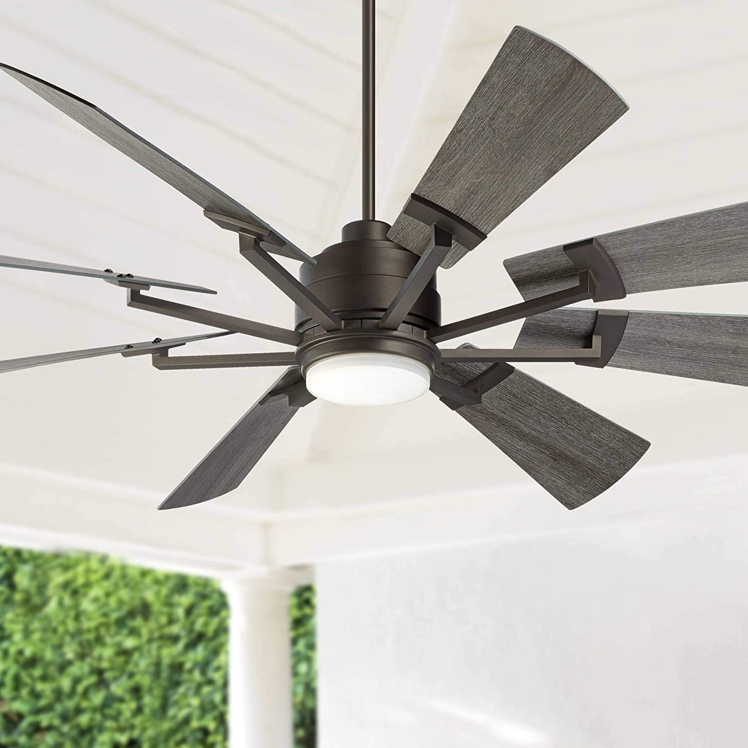 """72"""" Windmill Industrial Rustic Outdoor Ceiling Fan with Light LED Dimmable Remote Control Imperial Bronze Gray Oak Blades Opal Glass Damp Rated for Patio Porch - Casa Vieja"""