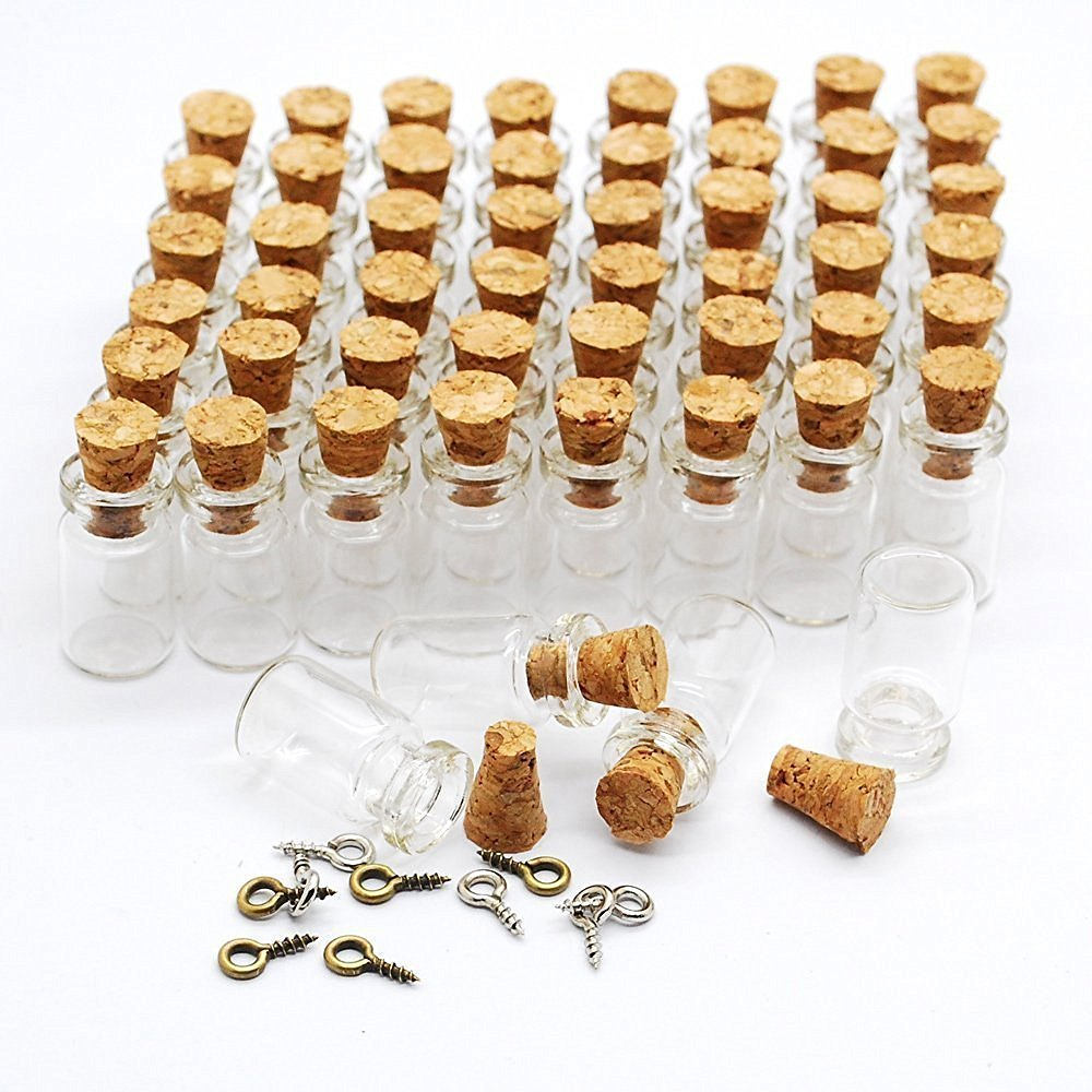 CTKcom 100pcs 0.5ml-Extra Mini Tiny Clear Glass Jars Bottles with Cork Stoppers, Glass Bottles for Decoration, Arts & Crafts, Projects, Party Favors,100 Botlles + 100 Screws