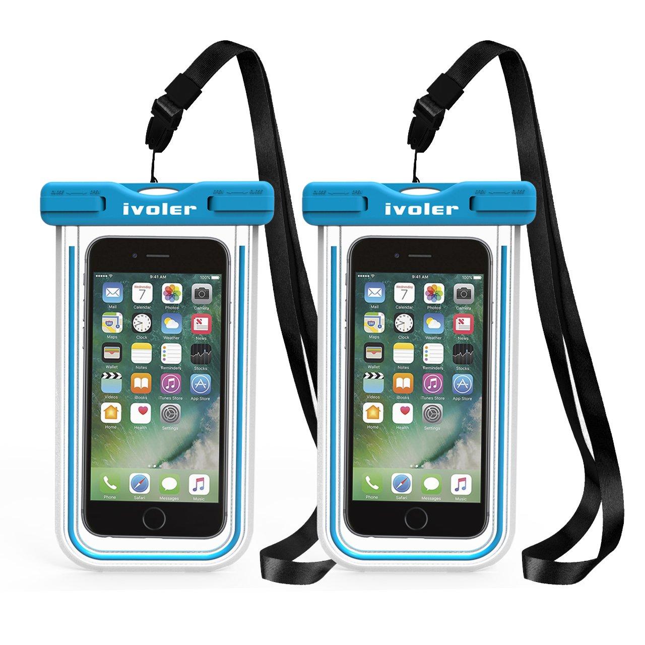 Samsung Custodia Impermeabile Smartphone ECC. 2 Pezzi iVoler Huawei Blu+Verde IPX8 Borsa Impermeabile Sacchetto Impermeabile Cellulare Dry Bag Universale Waterproof Cover Case per iPhone